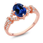 2.51 Ct Blue and White Created Sapphire 925 Rose Gold Plated Silver Ring