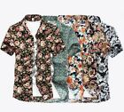 Men's Short-Sleeved Shirts Summer Casual Floral Shirt Smart 5 flowers Big Size
