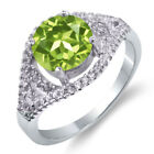 2.50 Ct Round Natural Green Peridot 925 Sterling Silver Ring