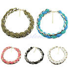 Fashion Women Concise Bohemian Braided Metal Beads Knot Necklace Jewelry