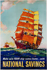 Vintage Maritime travel print poster, large 4 sizes available