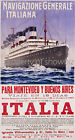 Vintage Italian Maritime travel print poster, large 4 sizes available