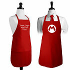 "Red Apron Personalized print Mario style ""M"" or You Own Logo/Text/Monogram"