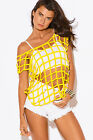 Sexy Bright Yellow Rave Raver Caged Layering Cut Out Festival Tank Top New cover