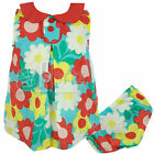 Girls ex Baby Boden Bright Floral Cotton Summer Sun Dress & Knickers Set New