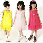 Vogue Design Kid Flower Girls Chiffon Party Pageant Dress Tutu + Pearl Necklace