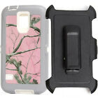 Free Belt Clip Defender Pink Tree Camo Case Cover for Samsung Galaxy S5 I9600