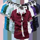 New Summer Men's Short Sleeve shirts Fitted Tops Handsome Casual T-shirt  LS4G