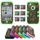 Hard Case Cover Triple Layer Hybrid Real Tree Camo Rubber  For IPhone 4/4S 5/5S