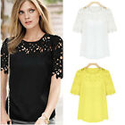 Womens Crew Neck Chiffon Lace Crochet Short Sleeve Casual Shirt Blouse Tops