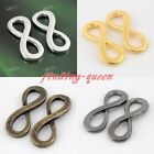 10x Curved Side Ways Infinity Figure 8 Bracelet Connector Charm Bead Finding DIY