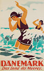 Vintage Denmark Travel Advertisement print poster, 4 large sizes available