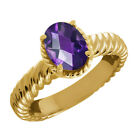 1.60 Ct Oval Checkerboard Purple Amethyst 14K Yellow Gold Ring
