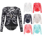 Ladies Lace Floral Long Sleeve Peplum Frill Pin Cardigan Shrug Top One Size 8-14