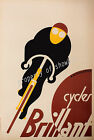 Vintage Brillant Bicycles Advertisement print poster, 4 large sizes available