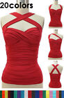 50s Style RUCHED Cross Your Heart Classic PINUP Halter Top 20 Colors! Sizes S-2X