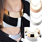 New Ladies Gold Silver-tone Curved Mirrored Metal Choker Collar Mottled Necklace