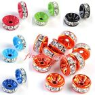 10x Crystal Rhinestone Rondelle Spacer Charms Beads For Bracelet Bangle 8mm 10mm