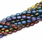 Bead string(90pcs)Glass Oval Loose Beads  Abstract Pattern 6Colors 10x6mm ,DIY