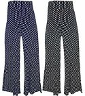 NEW WOMENS LADIES WIDE LEG POLKA DOT PALAZZO TROUSERS PANTS