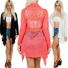 New Womens Ladies Lace Back Open Knitted Long Sleeve Waterfall Cardigan Size S M