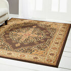 Brown Floral Medallion Runner Round Oriental Area Rug Persian Border Carpet