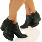 A3Q Womens Block Heel Fashion Chelsea Ankle Boots Smart Casual Ladies Shoes Size