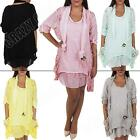 New Womens Ladies Italian 2 Pocket Lagenlook Summer Lace Scarf Button Dress Top