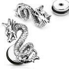 Pair Surgical Steel Dragon Fake Cheater Plugs Tunnels Earrings Gauges