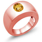 1.15 Ct Oval Yellow VS Citrine 14K Rose Gold Men's Solitaire Ring