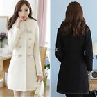 Fashion Womens Rabbit Fur Collar Wool Blend Slim Coat Jacket Outerwear 2 Color N