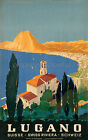 Vintage Lugano Switzerland retro travel print poster, large 4 sizes available