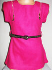 GIRLS BRIGHT PINK ZIP TRIM WOOLLY SLEEVELESS TUNIC TOP with BELT