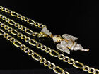 1/10th 10k Yellow Gold Diamond Cut  Figaro Style Chain Necklace 5.0 mm 18-24 Ins
