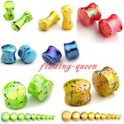 "Punk Colorful Dots Acrylic 6g-3/4"" Ear Plug Tunnel Expander Stretcher Earlets Ga"