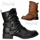 Womens Blowfish Kaution Low Block Heel Laces Buckles Biker Winter Ankle Boots