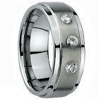 Ladies Mens Tungsten Carbide Engagement Wedding Ring Band Lab Diamond 9mm