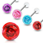 Pick 2 Steel Rose Flower Tongue rings barbell red blue pink purple 14g gauge 5/8