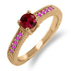 0.78 Ct Round Red Created Ruby Pink Sapphire 18K Rose Gold Engagement Ring