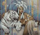 AFRICAN BEAUTY WITH TIGER - CROSS STITCH CHART