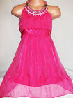GIRLS CERISE PINK JEWEL SATIN TRIM GRECIAN SHIMMERY CHIFFON PARTY DRESS