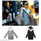Chic Korea Womens Coat Woolen Slim Fit Long Sleeve Knitted Hoodies One Size