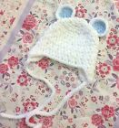 Baby bear hat,ear flap beanie pink, white, blue cream photo prop gift crochet