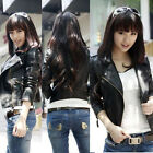 Cool Women &girls Slim Synthesis Leather Motorcycle short Zipper Jacket Coat