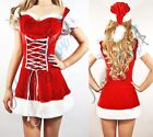 Sexy Santa Red Velvet Fur Trim Dress+Hat+Boot Covers Christmas Costume Set S-2XL