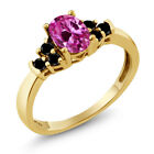 0.80 Ct Pink Created Sapphire Black Diamond 925 Yellow Gold Plated Silver Ring