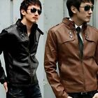 Men's Punk Bomber Motorcycle PU Leather Stand Collar Biker Jacket Coat Outerwear