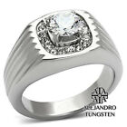 Men's Ring 1.35 Ct Simulated Diamond Stainless Steel Silver Tone Designed