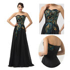 Vintage Peacock Style Ball Gown Bridesmaid Evening Prom Formal Party Long Dress