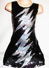 GIRLS 60s STYLE BLACK SEQUIN SILVER LIGHTNING EVENING DISCO PARTY DRESS